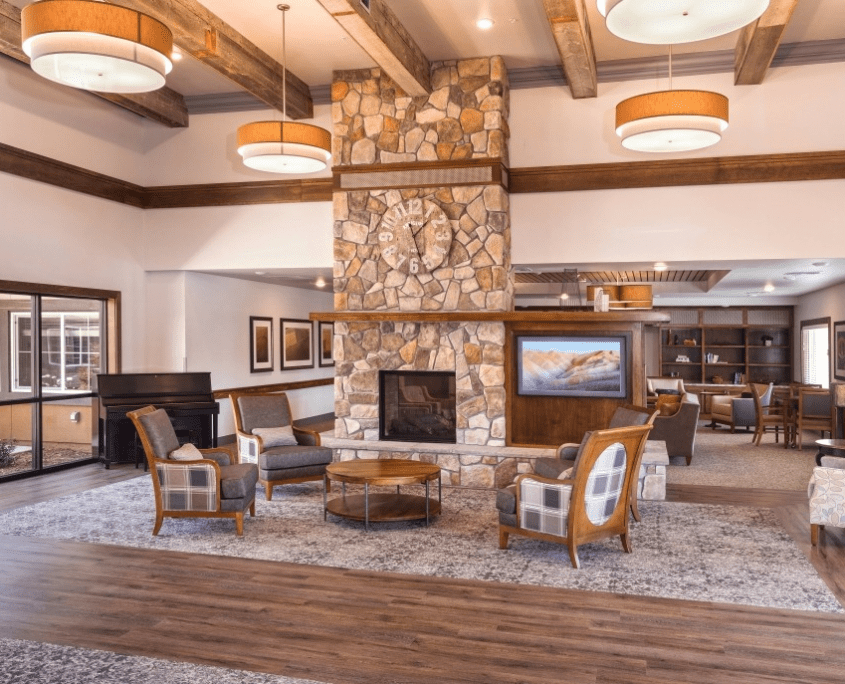 Lobby with Interior Fireplace